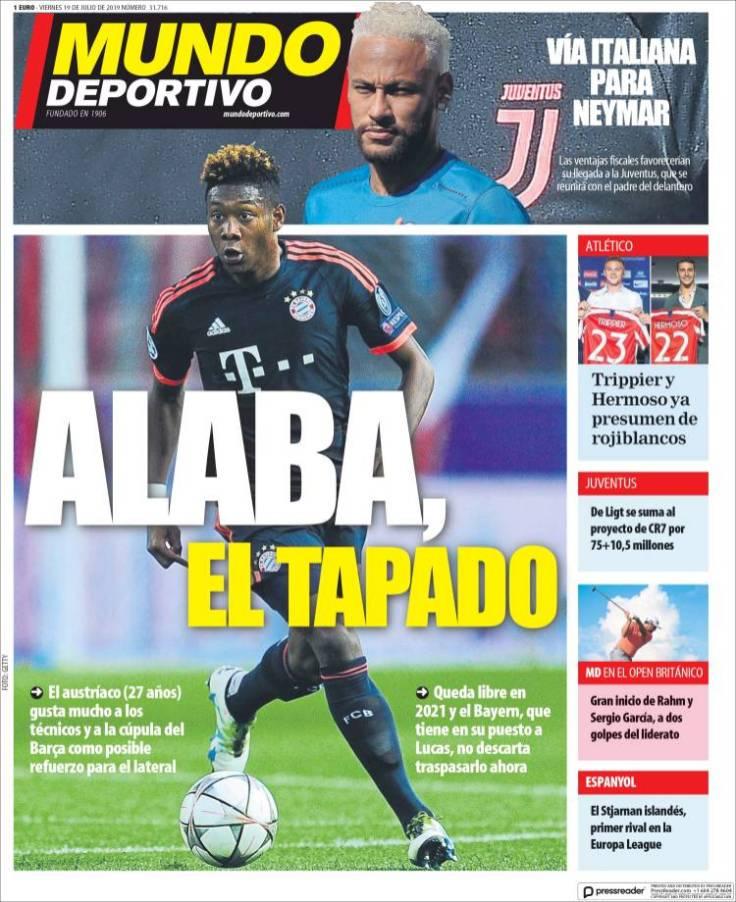 El Barcelona descartó fichar a David Alaba. (Mundo Deportivo)