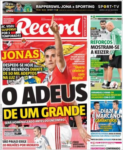 Jonas anunció su retiro y este miércoles se despedirá de la afición del Benfica. (Record)
