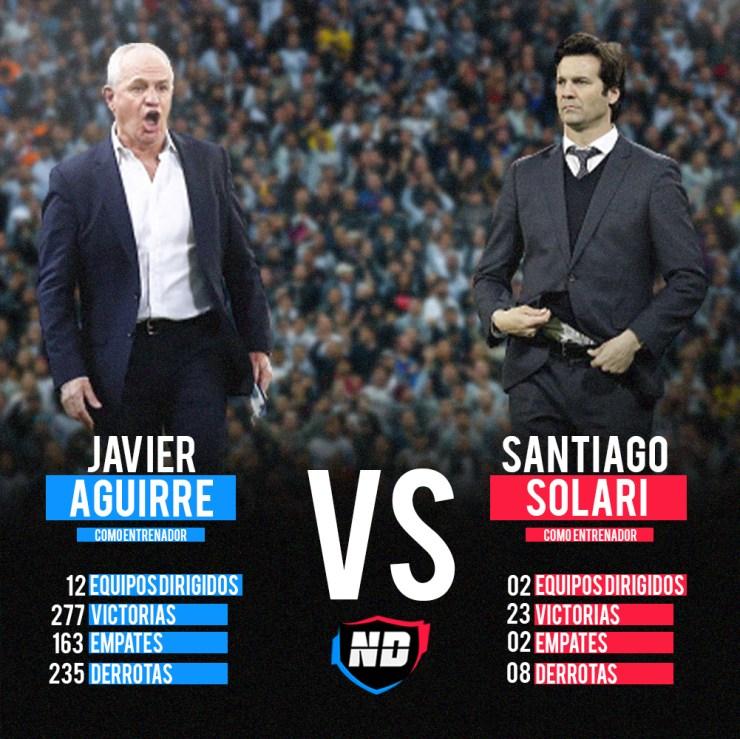 Javier Aguirre vs Santiago Solari.