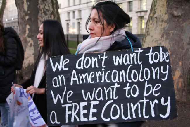 A Venezuelan woman rallies against intervention in Venezuela in London on Jan. 28. (Socialist Appeal/Flickr)