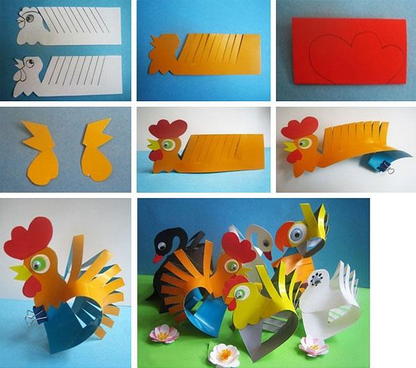 如何制作纸雄鸡