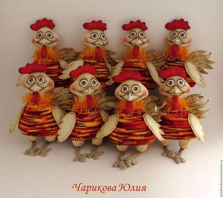 Ayam jantan dan ayam dalam gaya tilda