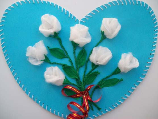 Roses from cotton disks
