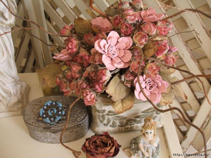 Flowers from trays in pastel pink colors