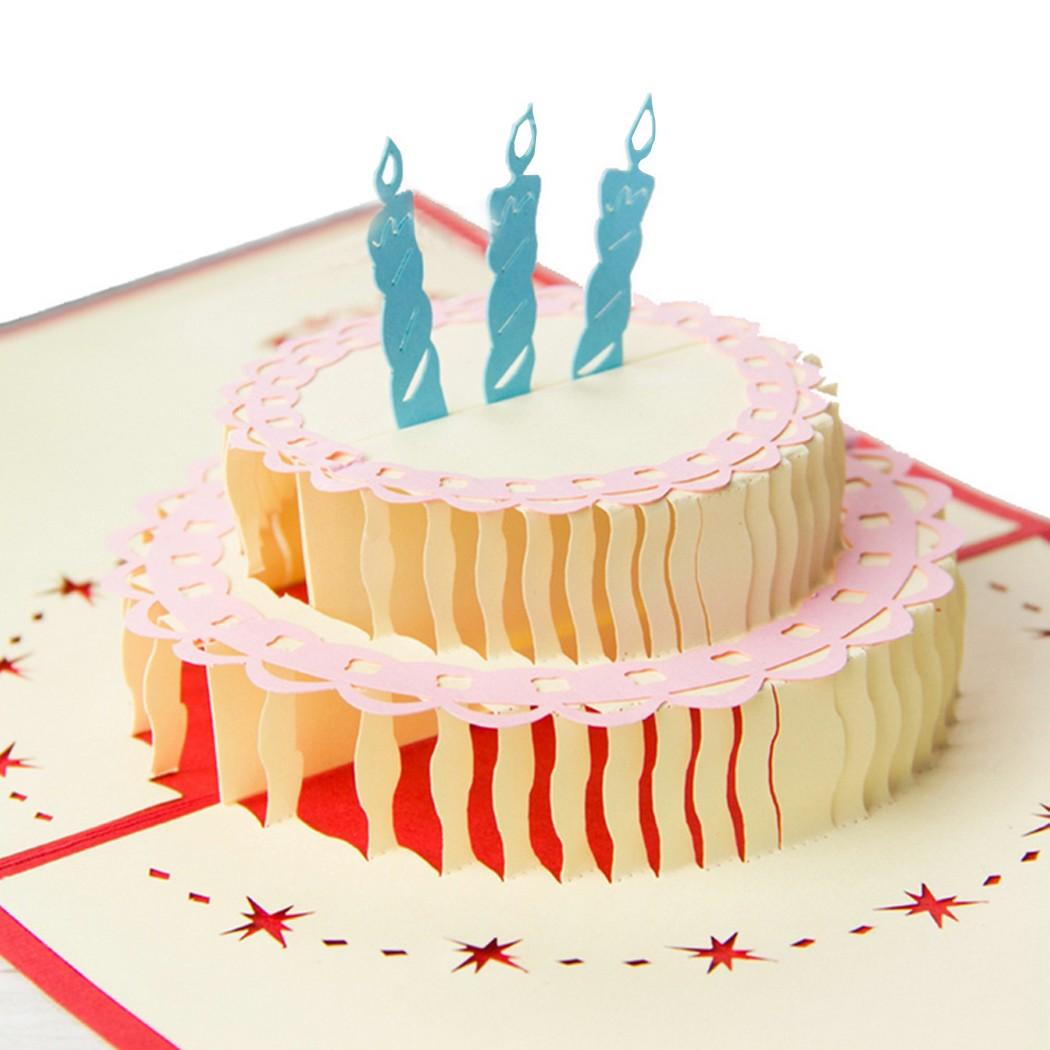 Открытка торт из бумаги объемный, днем