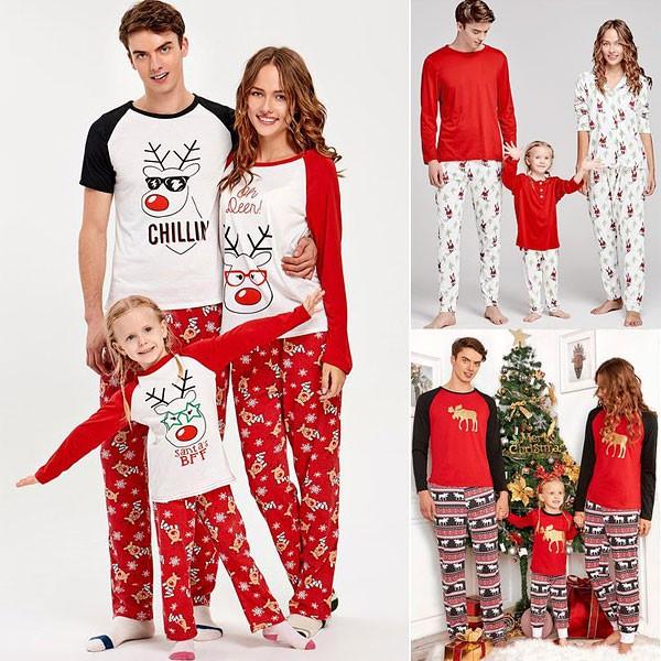 Жаңа жылдық пижама бүкіл отбасы үшін