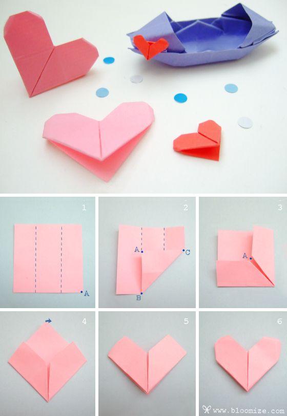 сердечки оригами