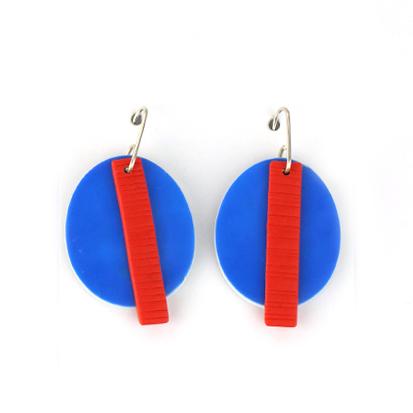 Vivid blue clay earrings by Nadege Honey