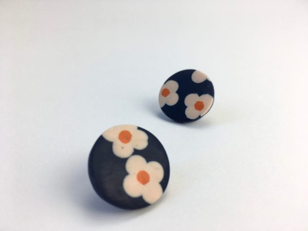 polymer clay big studs by nadege honey
