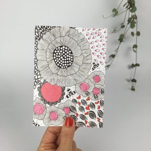 Pink and black ink card by nadege honey
