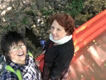 Crossing the Tsuten-kyo bridge