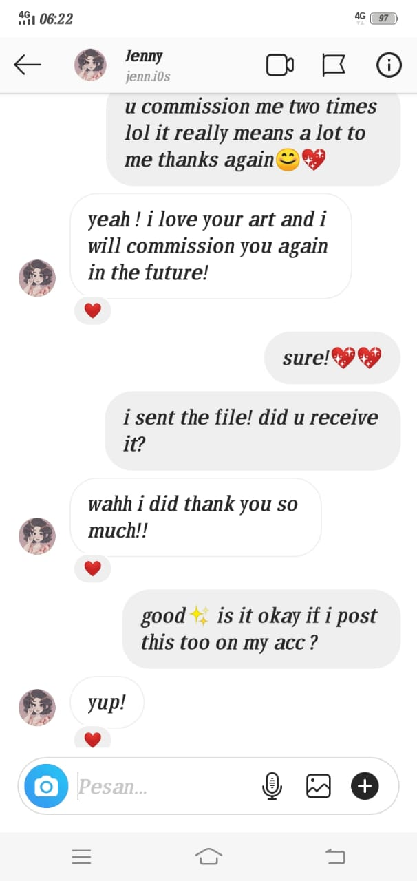 Nadia Aisyah Art Services Testimonial And Costumer Review 4