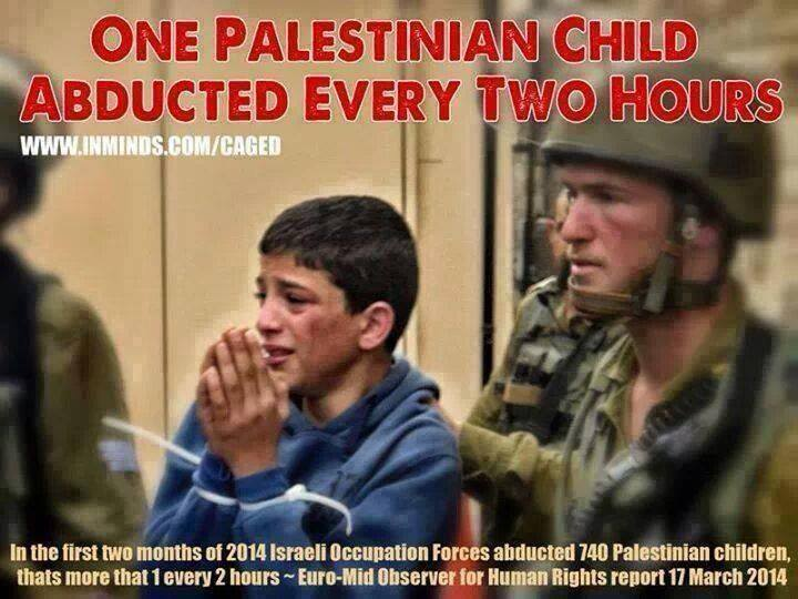 As the search for the Israeli settlers/soldiers is going on , daily abduction to palestinian children continues