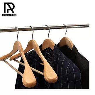 Ash and Roh Set of 6 Finished Wooden Suit Hangers – Wide Wood Hanger for Coats and Pants