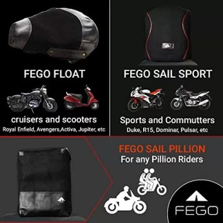 FEGO Sail Pillion Ride On Air Cushion Seat With Air Suspension For Motorcycle - Black Color
