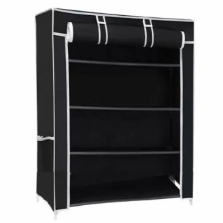 Ebee Store Metal Collapsible Shoe Stand (Black, 4 Shelves)