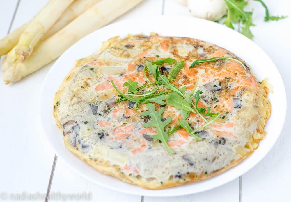 Tortilla met zalm en asperges