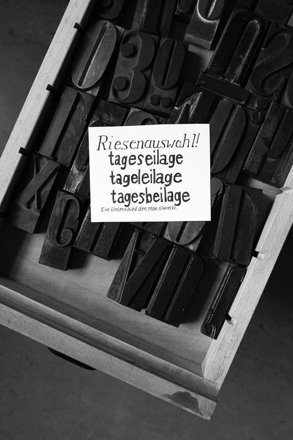 Holzbuchstaben - Formfleischvorderschinken - Poesie - Lettering