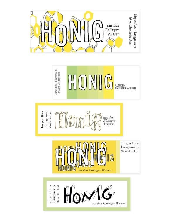Design - Gestaltung - Honig - Etiketten - Lettering
