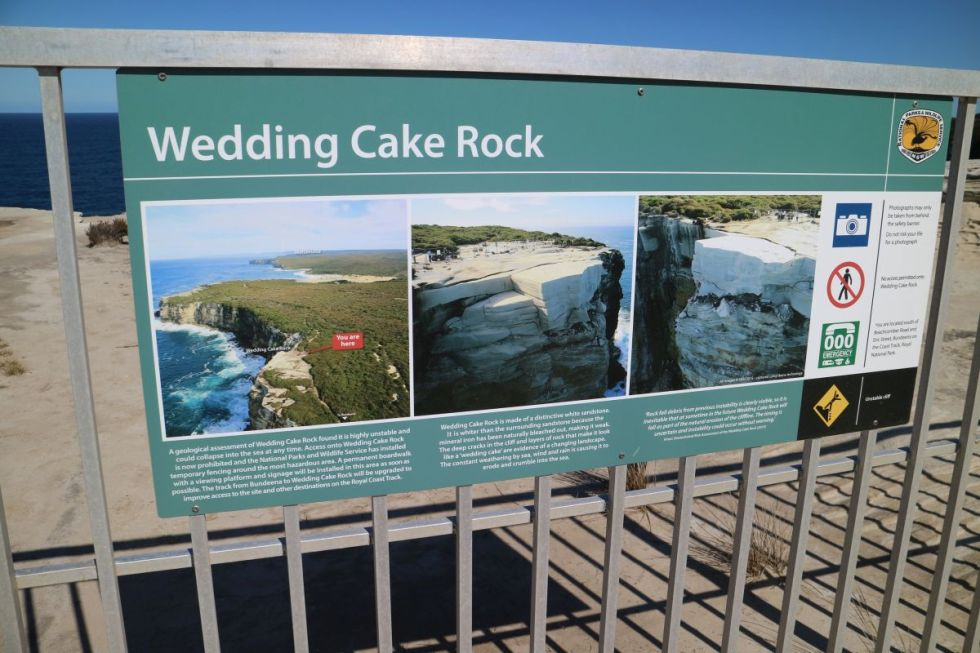 Schild am Wedding Cake Rock