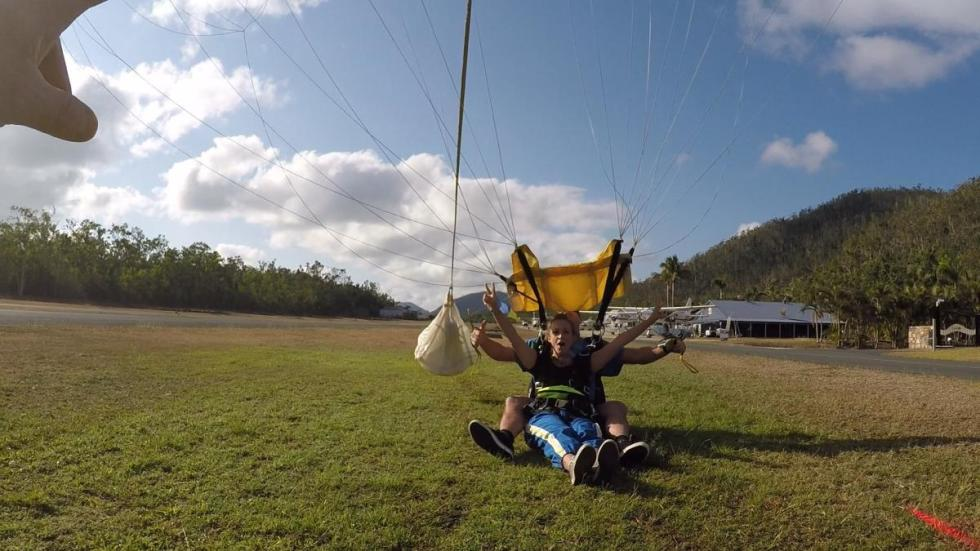 landing after the skydive in Airlie Beach