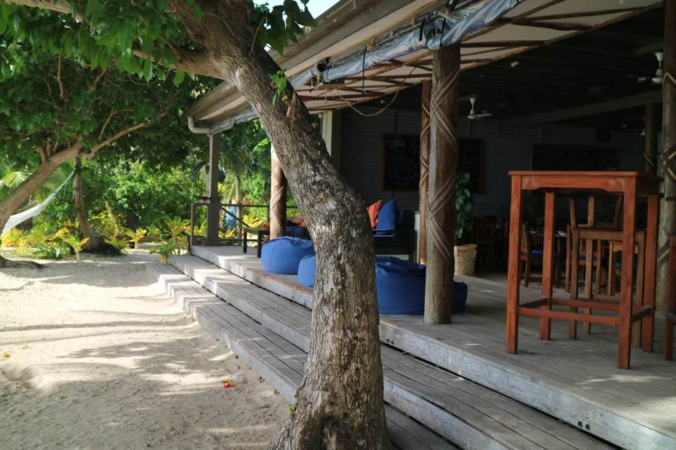 restaurant and chill area at the blue lagoon resort, fiji