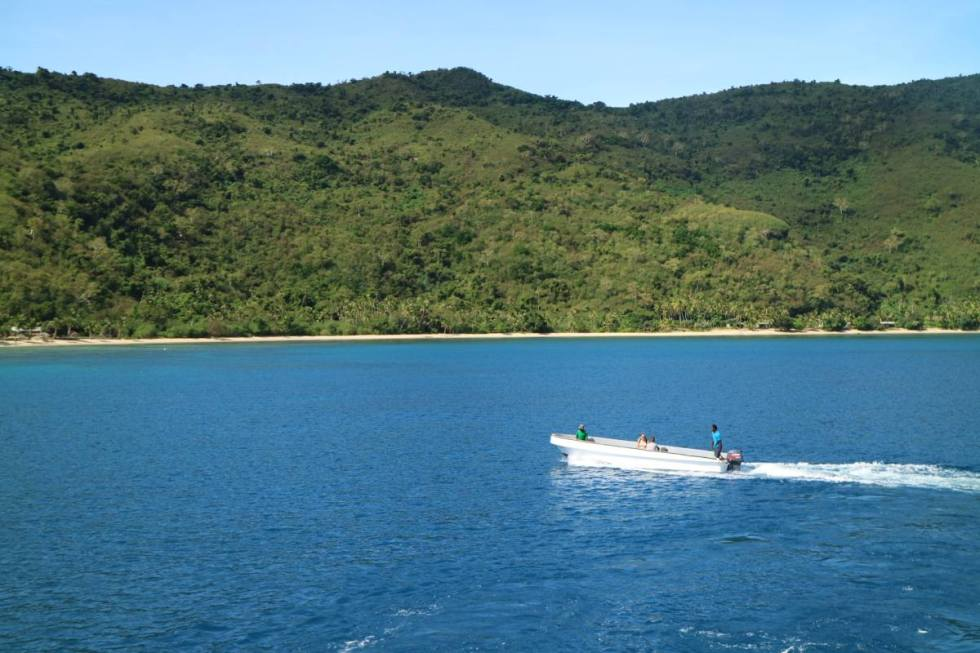 A tender brings you to the Blue Lagoon Resort