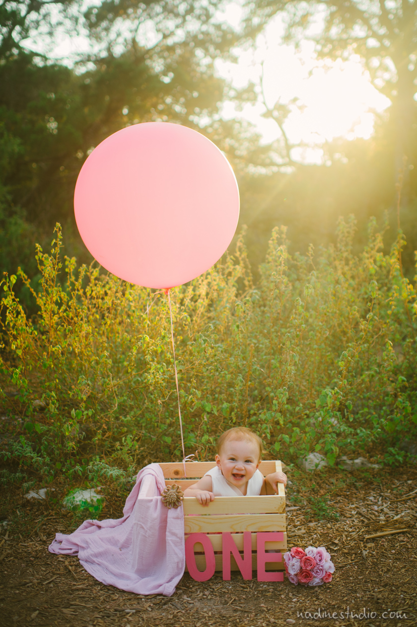 First Birthday Shoot With Balloons Austin Family