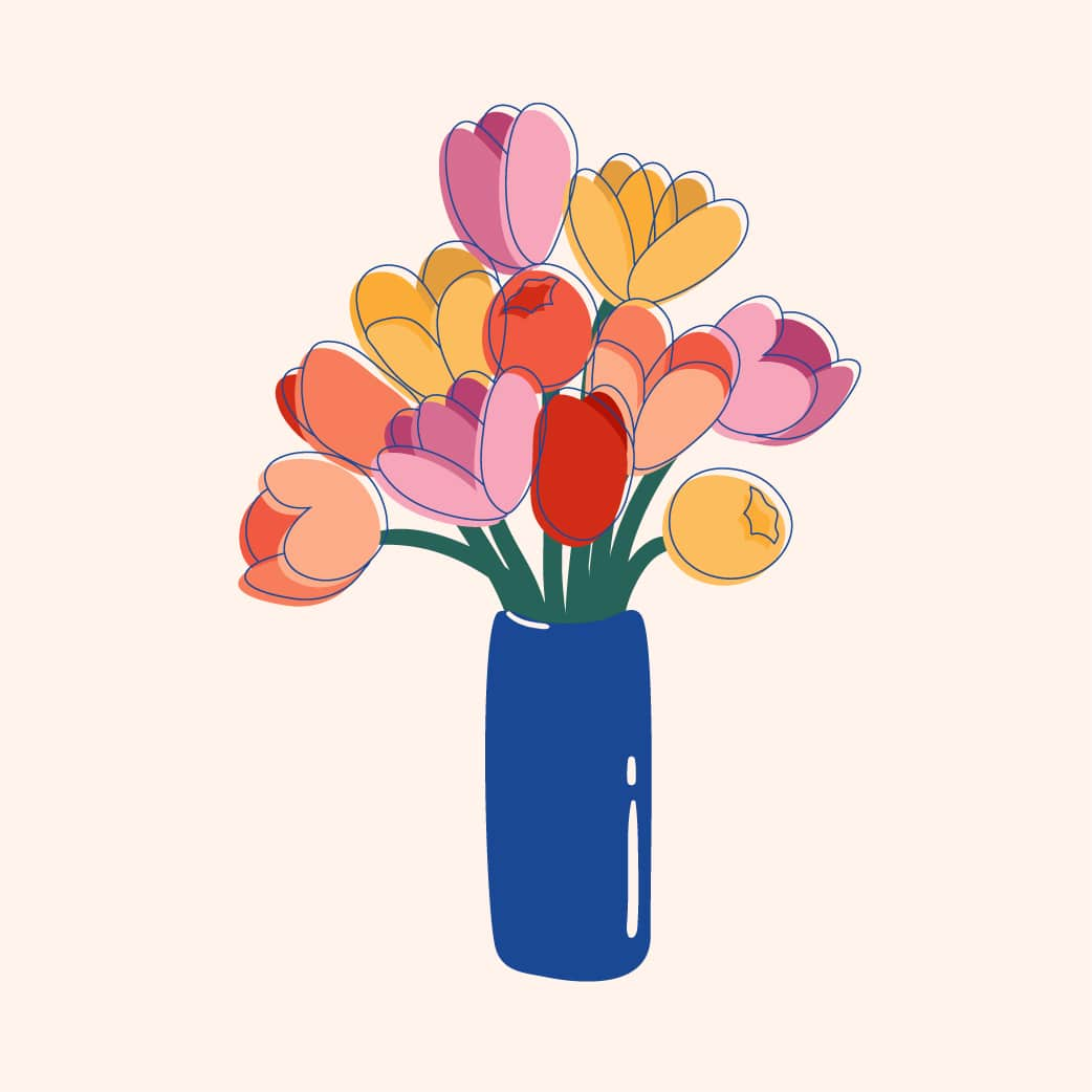 Colorful Tulips on a Blue Vase