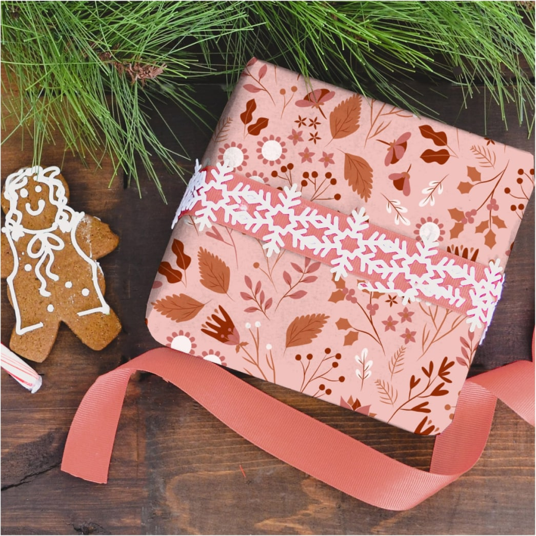 Winter Forest in red gift wrap