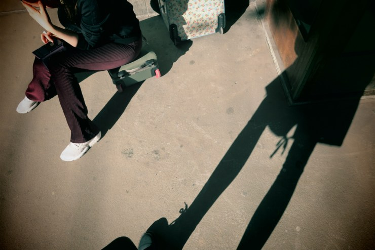 Shadow stories selfie waiting for train
