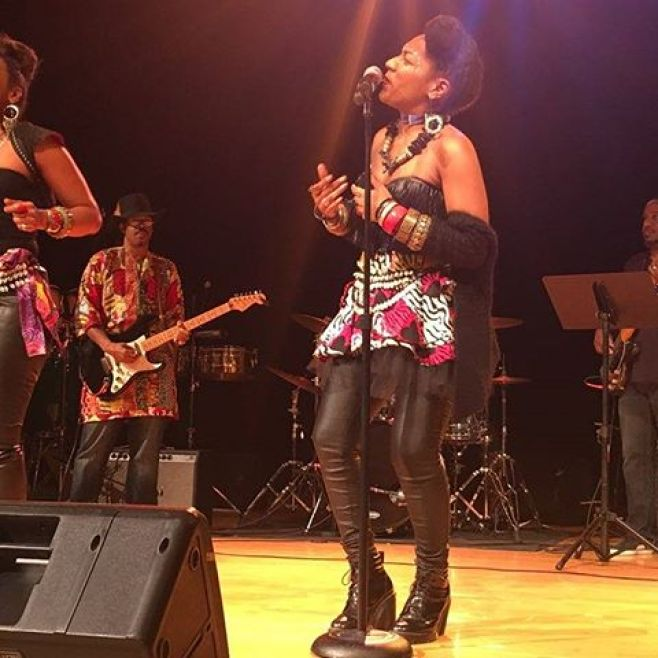 It was an honor and a pleasure to play bass for my sheroes @lesnubians at #noelnight at the @thewrightmuseum last night. Many thanks to @pirahnahead for the call and the masterful job as MD. Tons of fun jamming with @aishaondrums, @tonedefmusic and Greco. Thanks to @zeinawashington for the pic.