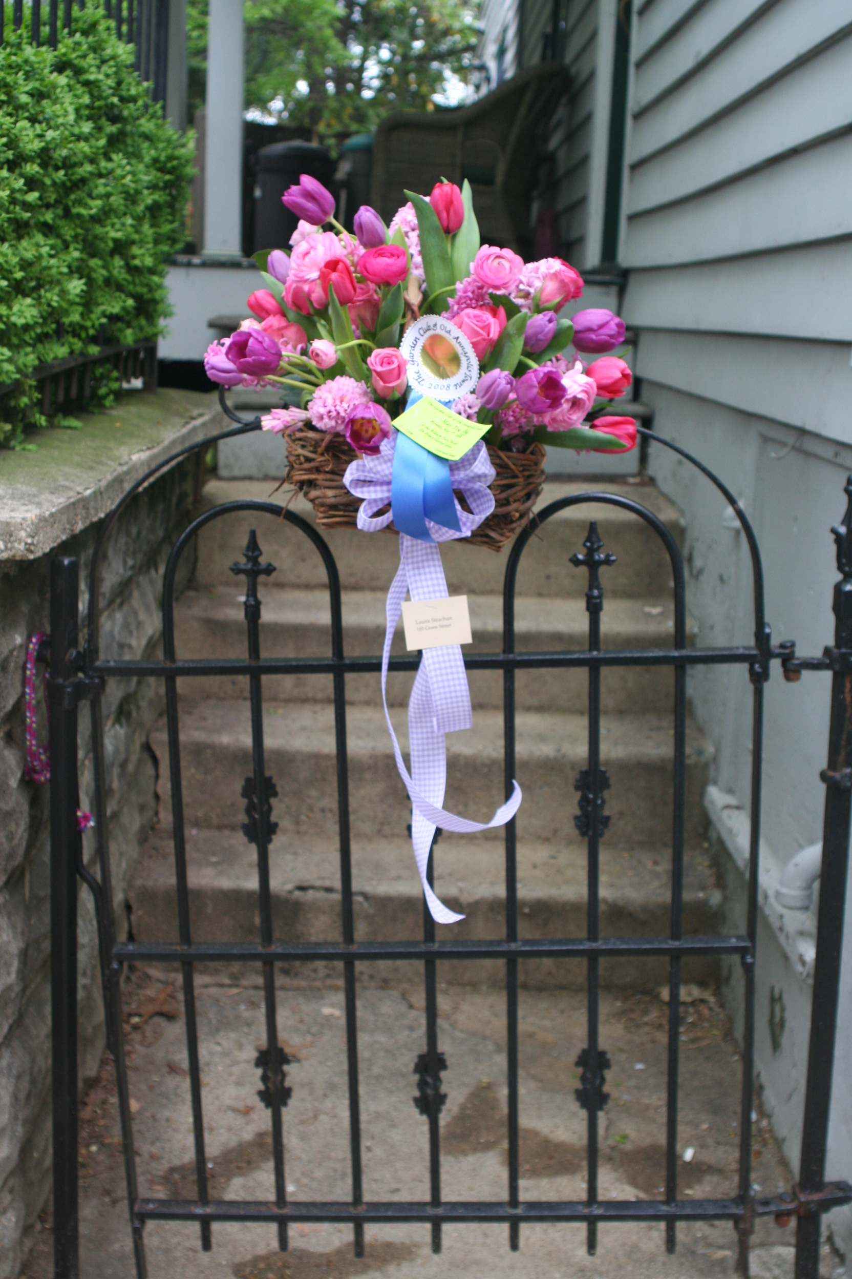 A beautiful May basket graces a wrought iron gate in downtown Annapolis