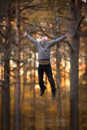 Autumn Portrait of a Flying Boy