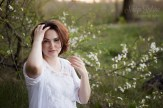 Romantic young woman portrait in Riga outdoors