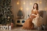Новогодняя фотосессия 2018, беременная девушка в вечернем платье