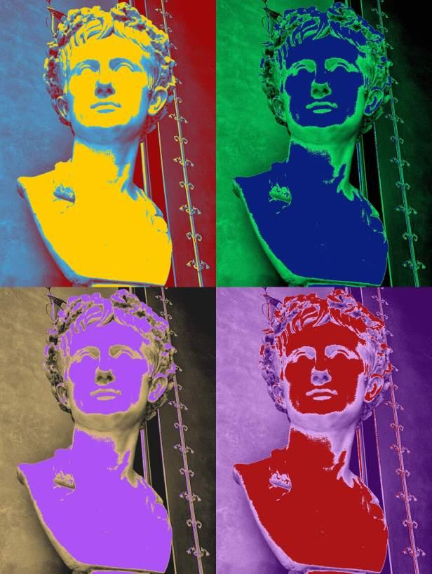 Eine Abbildung der Büste von Kaiser Augustus im Stil von Andy Warhol.