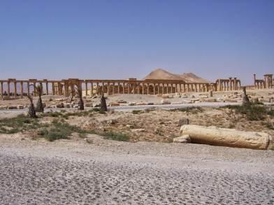 Mehr als ein Kilometer lang lief die Hauptstraße des antiken Palmyra am Theater vorbei durch das Hadrianstor auf den Tempel des Baal zu.