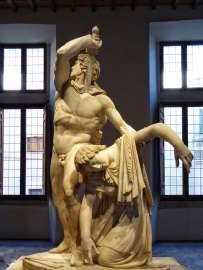 Der sich selbst tötende Gallier, der seine tote zu Boden fallende Frau im Arm hält. Antike Marmorkopie des Bronzedenkmals aus Pergamon aus der Zeit 240 bis 230 vor Christus. Die römische Kopie aus Marmor stammt aus dem frühen 2. Jahrhundert nach Chr. Die Statuengruppe gehört zur Sammlung Ludovisi.