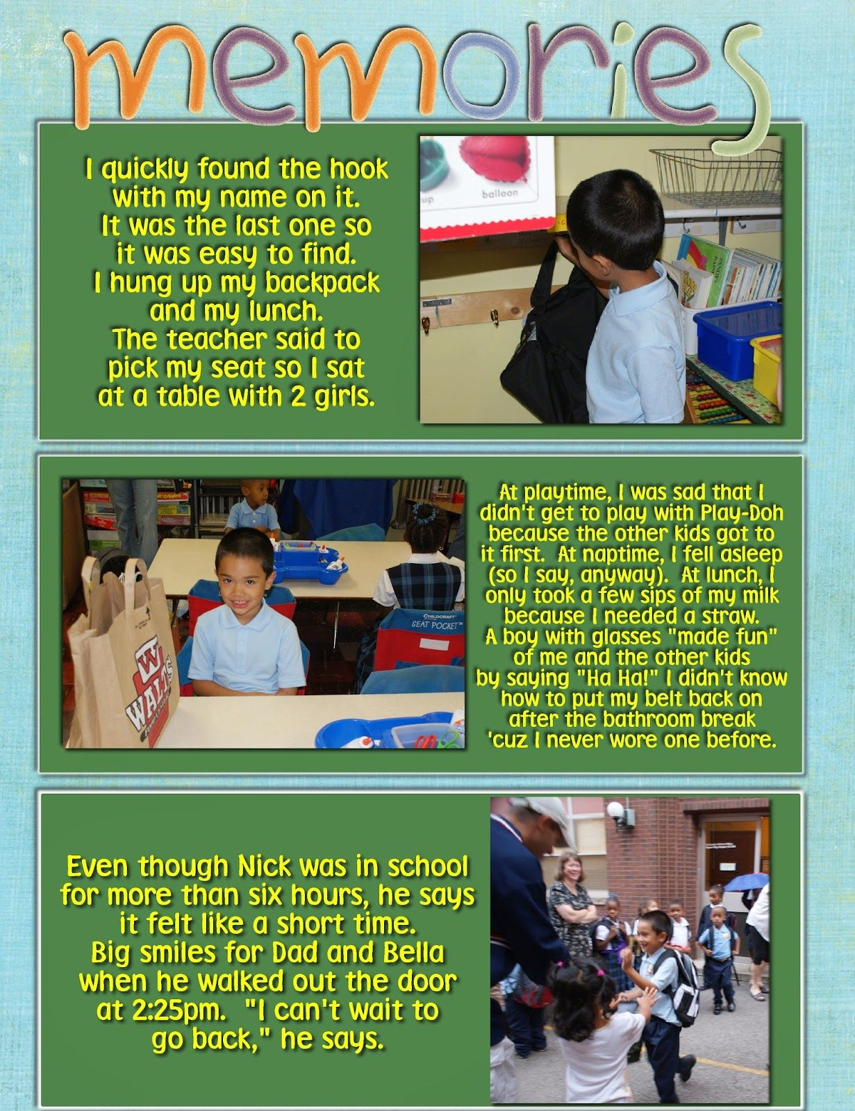 Pin By Mommy Marvel On First Day Of Kindergarten Scrapbook