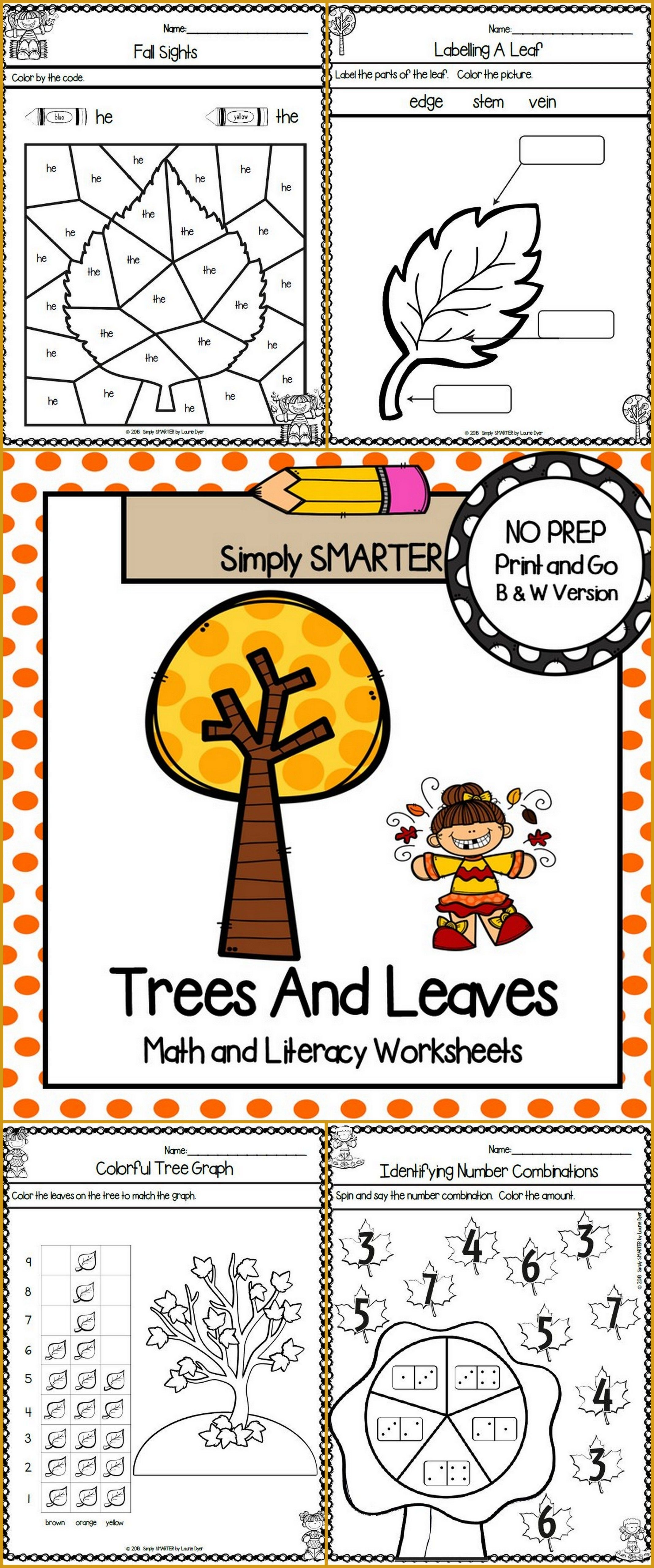 Trees And Leaves Themed Kindergarten Math And Literacy On
