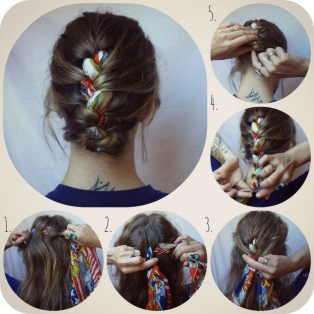 French-Braided-Bun-with-Scarf