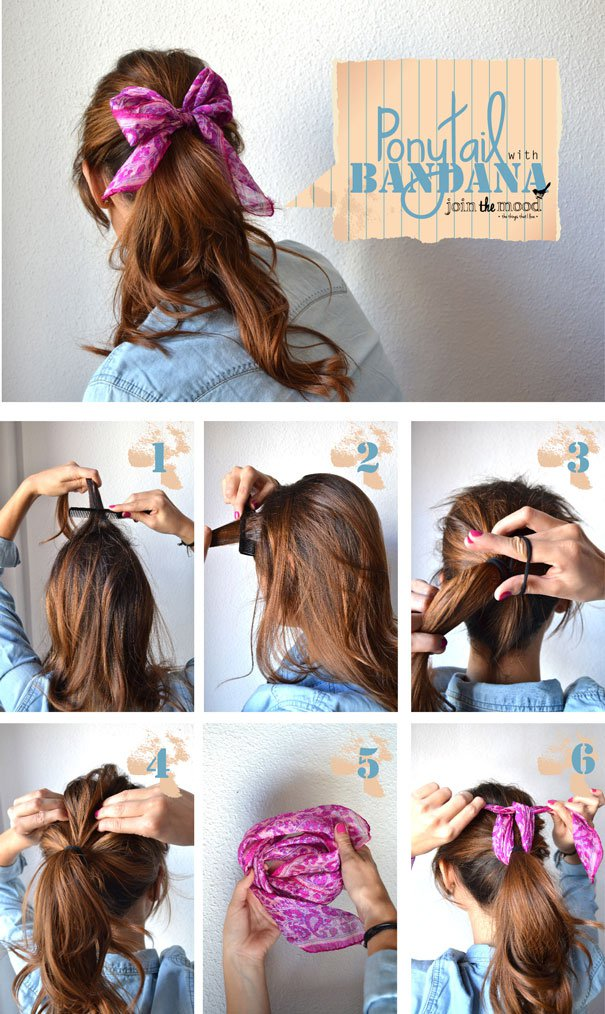 Simple-Ponytail-Hairstyle-With-Bandanna