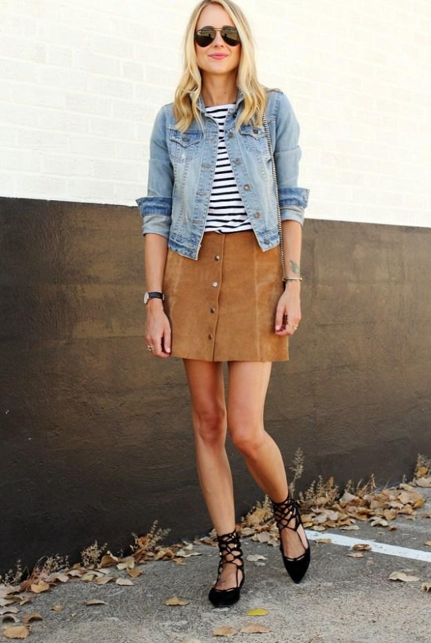 fashion-jackson-denim-jacket-topshop-suede-mini-skirt-stripe-top-black-aviator-sunglasses-black-lace-up-flats-640x954