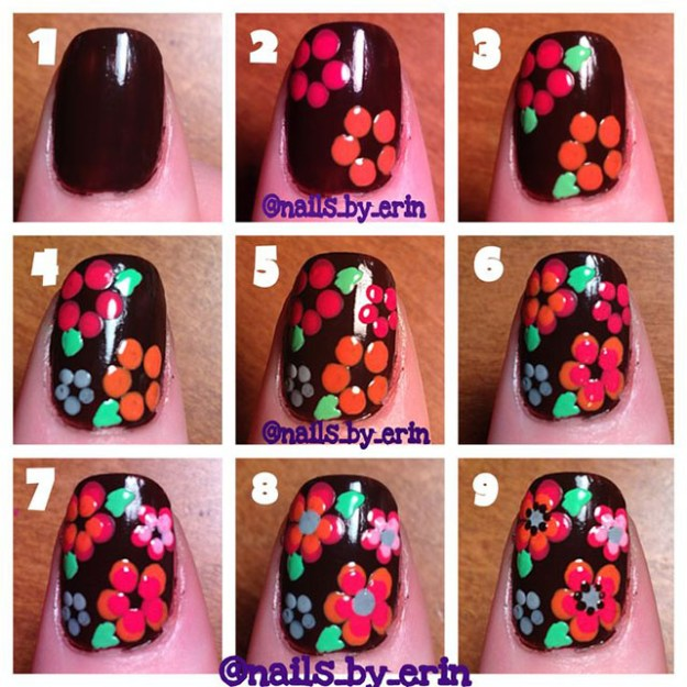 Chocolate-Floral-Nail-Art