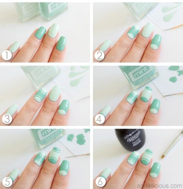 half-moon-manicure-tutorial-mint-nails
