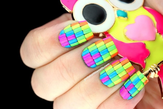 Neon-neon-neon-nails-with-neon-bar-metal-studs-over-Loreal-Dont-Shy-Away