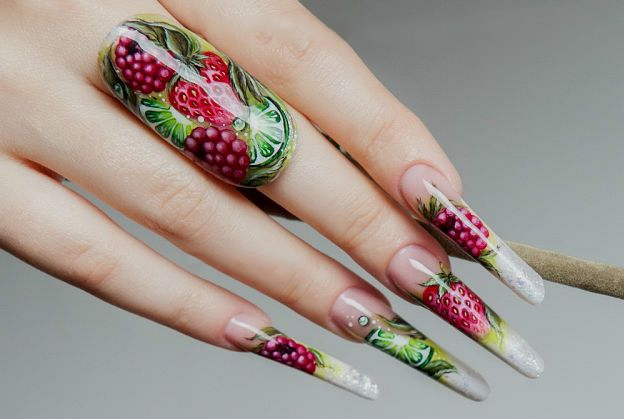 Berries and fruits on long nails