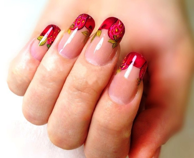 Fruit-nail-with-cherry-strawberry