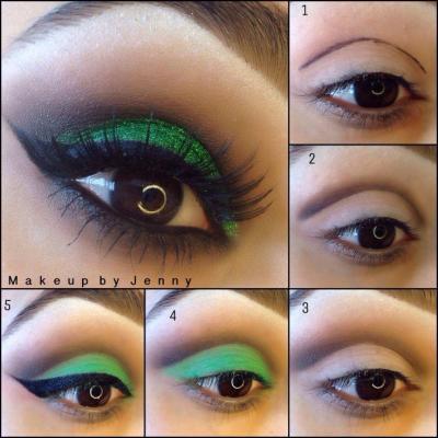 Зеленый макияж пошагово